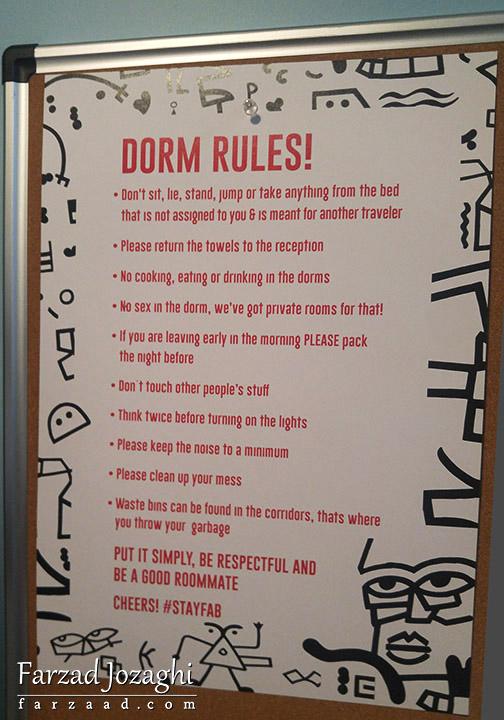 قانونهایی که در اتاقهای هاستل ملزم به رعایت کردنشون هستین