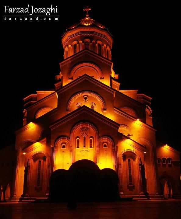 کلیسا جامع تفلیس در شب